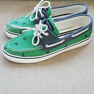 Sailboat Sperry Top Sider Shoes Green Navy 8.5